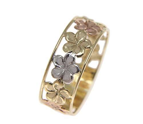 - 14K solid tricolor yellow white rose gold Hawaiian plumeria flower lei ring 6.5mm size 7