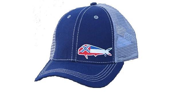 fb48627cfec55 Coastal Worn Mississippi Mahi Mahi State Flag Trucker Hat at Amazon Men s  Clothing store
