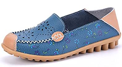 Labato Style Women's Floral Print Hollow Out Casual Leather Slip On Flats Loafers Shoes (Blue, 5 B(M) US)