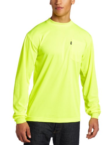 Key Apparel Men's Long Sleeve Enhanced Visibility Waffle Weave Pocket Tee Shirt, Hi-vis, XX-Large-Regular