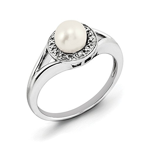 10 Diamond Mother Of Pearl - JewelryWeb Sterling Silver Polished Rhodium-plated Diamond Freshwater Cultured Pearl Ring - Size 10