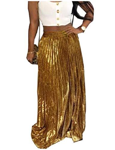 Vska Womens Accordion Pleated Cocktail Bronzing Long Full Circle Skirt Golden M