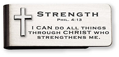 Strength Money Clip With 3D Cross And Phil. 4:13 Verse In Gift Box