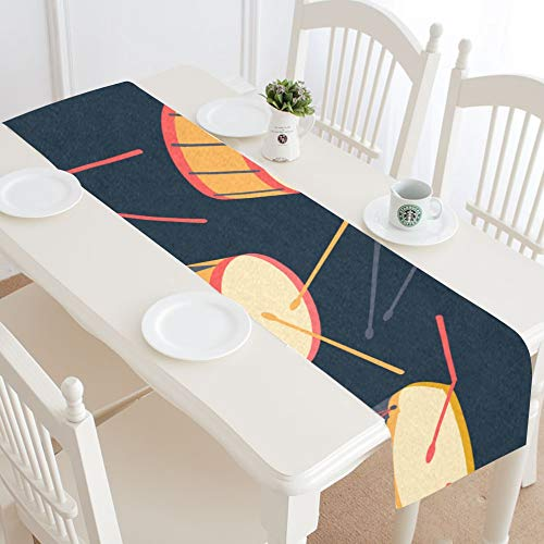 WUwuWU Low Drum Hand-Painted Art Ethnic Table Runner Kitchen Dining Table Runner 16x72 Inch for Dinner Parties Events Decor ()