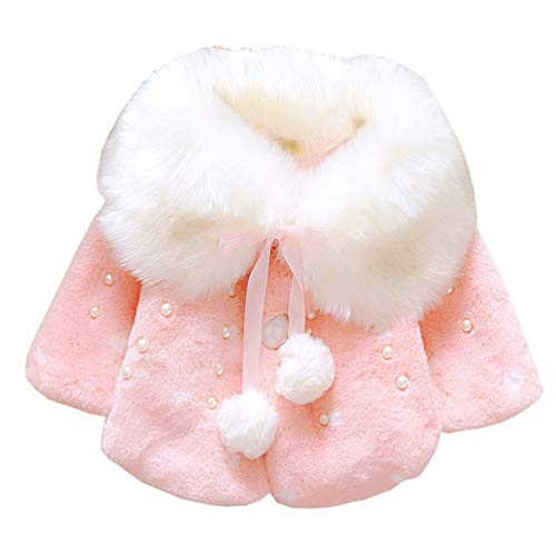 UAZNegozio Faux Fur Coat Newborn Infant Baby Girl Jacket Cape Cloak Poncho 0-3 Years