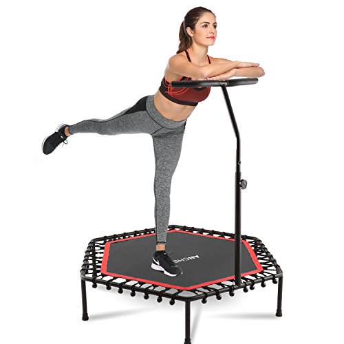 "ANCHEER 50"" Trampoline with Adjustable Handrail, Safe Elastic Band Rebounder Fitness Trainer for Kids or Adults"
