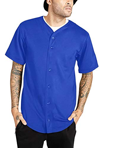 Ma Croix Mens Premium Baseball Button Down Jersey Shirt Short Sleeve Athletic Sports Tee (Large, 1KSX0002_Royal Blue) ()