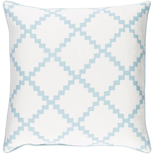 22'' Cotton White and Beau Blue Linen Decorative Throw Pillow- Down Filler by Diva At Home