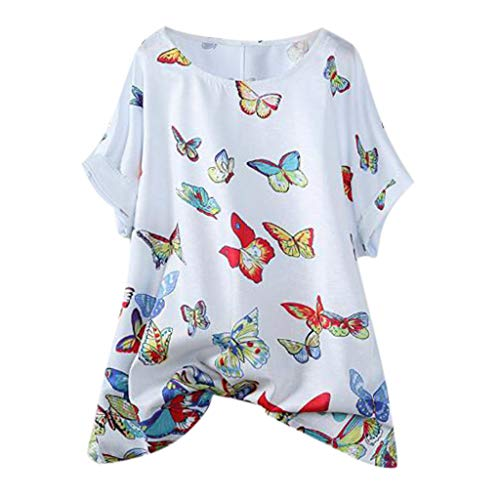 Women Cotton Linen Casual Plus Size Butterfly Printed Loose Button Tunic Shirt Blouses Tops Loose Printed Top White