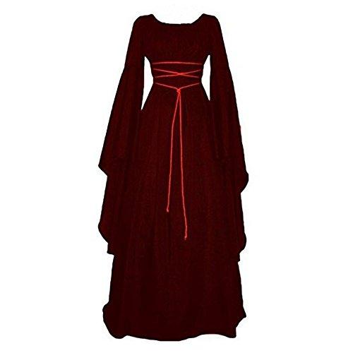 Pevor Womens Renaissance Medieval Irish Gothic Victorian Retro Dress Gown Halloween Costume Cosplay Witch Dress WineRed S