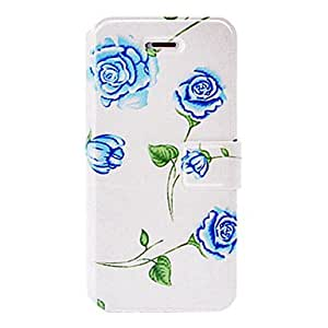 Fashion Small Fresh Blue Rose Pattern Leather Case with Holder & Card Slots for iPhone 5/5S
