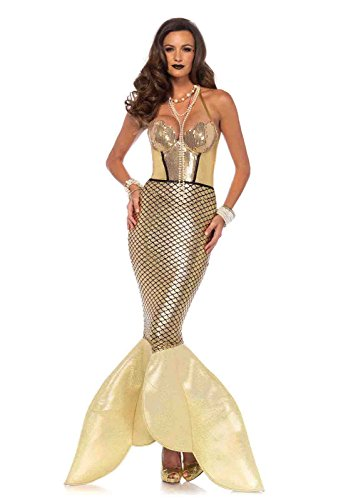Mermaid Halloween Costumes 2016 (Golden Glimmer Mermaid Halter Costume Bundle with Pink Shorts)