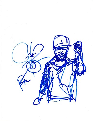 CHUCK D Signed Autographed Hand Drawn Self Portrait Sketch PUBLIC ENEMY - Self Signed Portrait