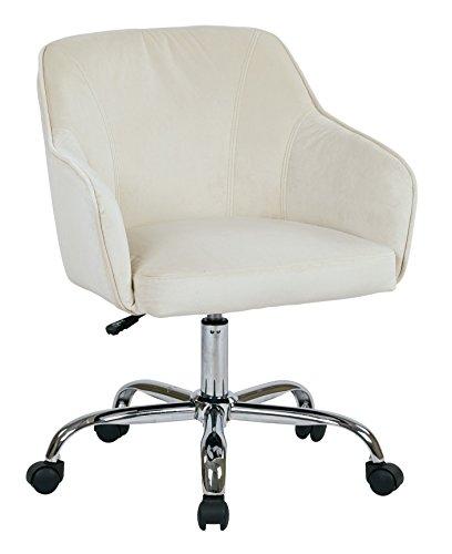 AVE SIX Bristol Chrome Base Upholstered Task Chair, Oyster Velvet by Ave Six