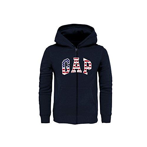 Arch Logo Zip (GAP Boys' Fleece Full Zip Logo Hoodie (Navy/USA, Large (10-11)))