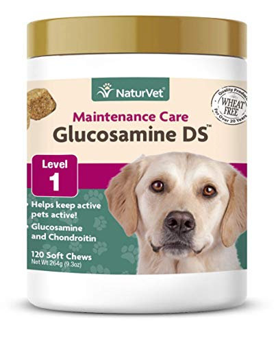 NaturVet - Glucosamine DS - Level 1 Maintenance Care - Preventative Care to Maintain Healthy Cartilage & Joint Function - Enhanced with Glucosamine & Chondroitin - for Dogs & Cats - 120 Soft Chews