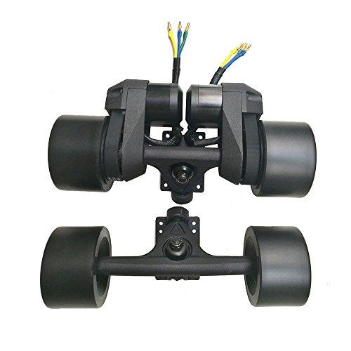 ZXMOTO Electric Longboard Drive Kit Skateboard Sensorless Dual Hub Motor Wheel with 7 Inch Trucks Black