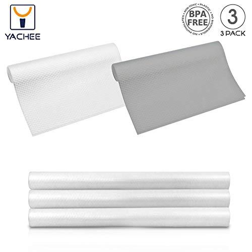 Yachee 3 Rolls EVA Cabinet Liner, Non-Slip Non-Adhesive Shelf Liners Kitchen Cabinets, Waterproof Cupboard Drawer Cushion Mats, DIY Multipurpose Antifouling Pads, 18
