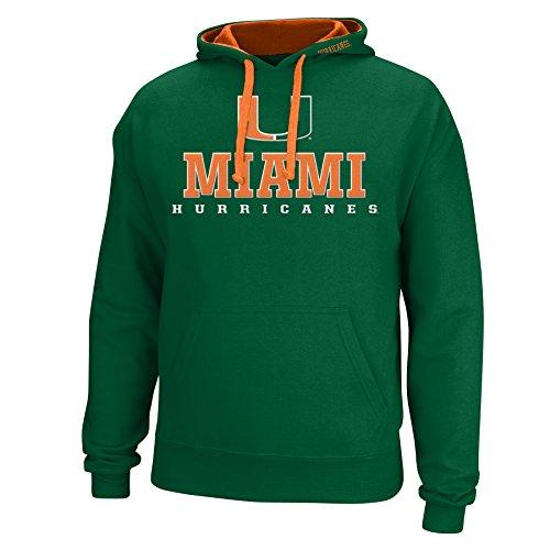 J America NCAA Miami Hurricanes Men's Logo School Name Foundation Hoodie, X-Large, Green/Orange