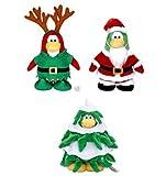BUY EARLY - LAST ONE SAVE $15.00 - Triple Combo = 7'' Santa, Christmas Tree + Reindeer Elf Club Penguin Plush + Treasure Book Coins!