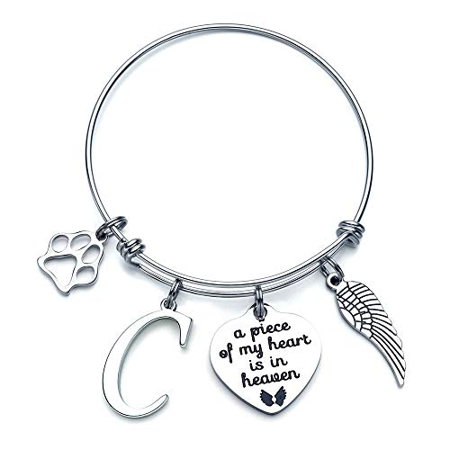 Loss Of Dog Gifts Jewelry - Pet Remembrance Gifts Dog Loss Sympathy Bracelet in Memory of Pets Jewelry Gift Engraved Pets Memory Heart Charm C Initial Bracelet, A Piece Of My Heart Is In Heaven