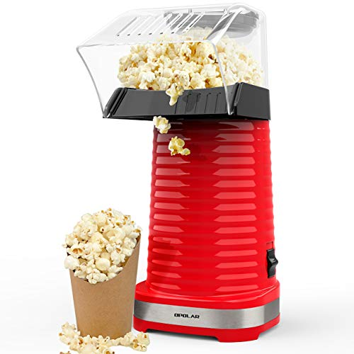 OPOLAR Hot Air Popcorn Popper Electric Machine, Fast Popcorn Maker with Measuring Cup and Removable Top Cover, Ideal for Watching Movies and Holding Parties in Home, Healthy, 1200W, BPA-Free Red
