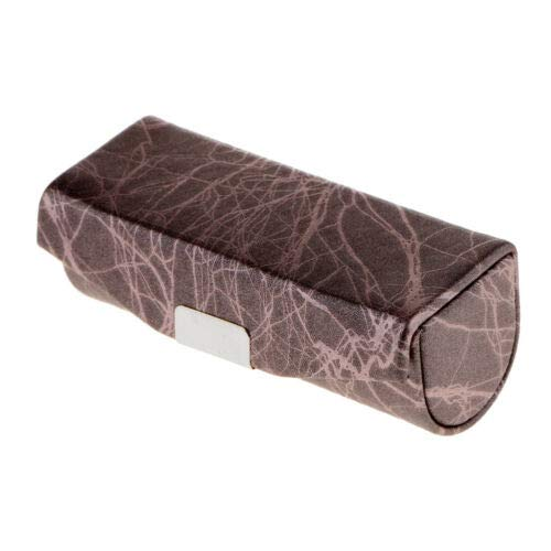 (Cracked Stone Pattern Lipstick Case Brocade Embroidered Holder Box w/Mirror (Color - Brown))