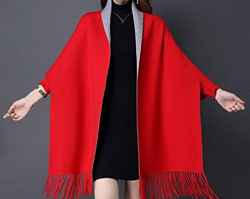 oversize oversize Pullover Donna Knitted Cashmere Winter maniche Da Coat Poncho Poncho Poncho Sciarpa Cardigan rosso grigio con Sweater vxRwn1d8q