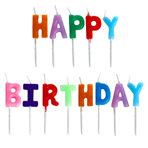 Wrisky Happy Birthday Letter Candles Toothpick Cake Cute Candle Kids Party - Candle Round Sandalwood