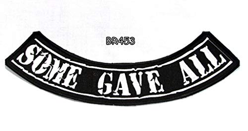 Some GAVE All White on Black Bottom Rocker Iron on Patch for Biker Vest BR453 Embroidered Patches