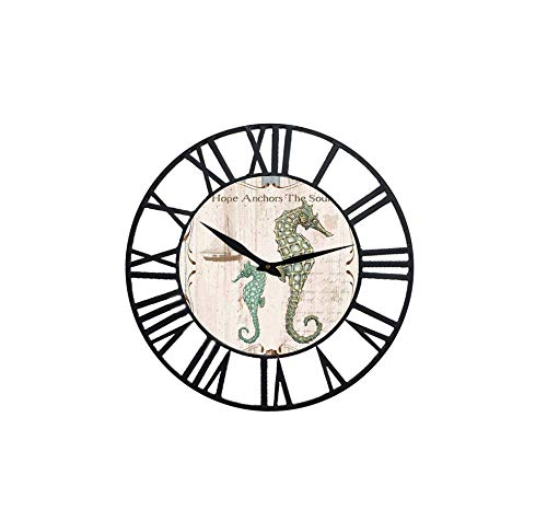 Ibobo Shop Farm House Wall Clock with sea Horse Design Theme and Black Iron Frame 16 inch