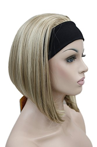 Short Straight 3/4 half Full wig hair headband Women Daily Natural Hivision #TypeH (Honey Ash Blonde & Pale Blonde Mix) -