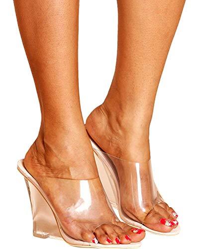 86f603213d9 CAPE ROBBIN Women s Dressy Open Toe Clear PVC Slip On Mule Wedge (11