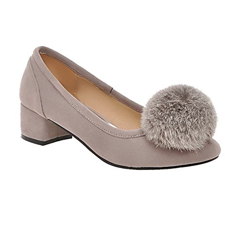 Latasa Mujeres Adorable Lindo Pom Poms Square Toe Mid Chunky Heel Casual Dress Bombas Zapatos Gris