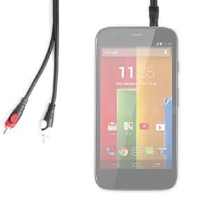 DURAGADGET-Cable de audio jack 3,5 mm macho a 2 X RCA macho para Smartphone y teléfono Motorola Moto G y Moto X, Samsung Galaxy Ace Style SM-G310