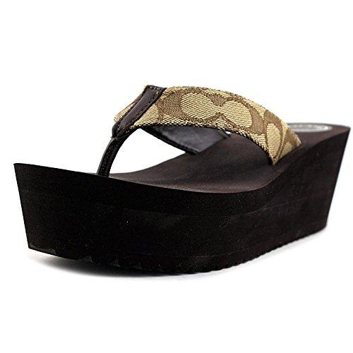 Coach Womens Jen Open Toe Special Occasion Platform Sandals Khaki/Chestnut Sig C Cvc C3iaHodPD3