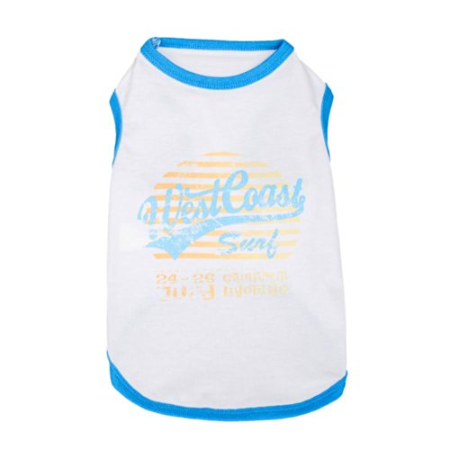 (Blueberry Pet Torre di Calafuria Surfer's Point Cotton Dog Tank Top Shirt, Back Length 12