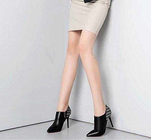Deep Stivaletti Zipper Bene 35 Con In Pelle nero 9cm boots High Scarpe Stivali heeled Khskx Moda Lato Appuntita 6xf7SYq6