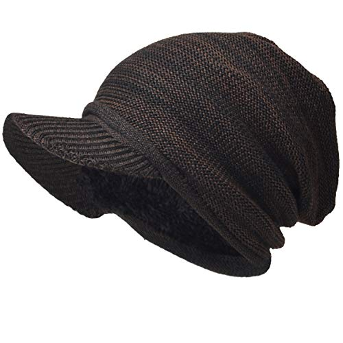 VECRY Men's Oversize Slouch Beanie Slouchy Skullcap Large Baggy Hat (Visor-Brown)