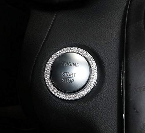 YUWATON Car Start Ignition Button Rinestone Cover fit for Mercedes Benz Bling Accessories New A C Class CLA GLA GLC 3D Rinestone Decals Ring Car Interior Rinestone Bling Accessories for Women