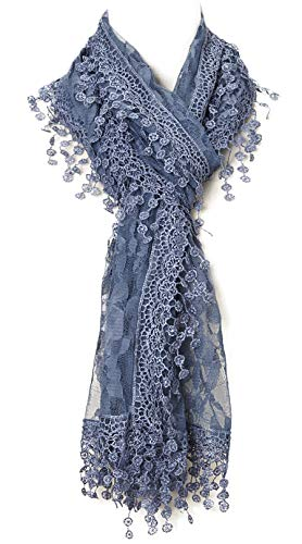 Cindy and Wendy Lightweight Soft Leaf Lace Fringes Scarf shawl for Women (Navy)