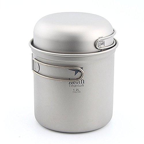 Keith Ti6051 Titanium Cookware Pot Outdoor Camping Ultralight Titanium Cookware 400+1200ml