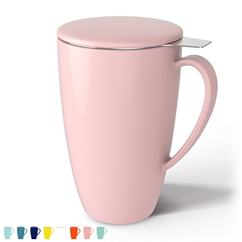 Sweese 2108 Porcelain Tea Mug with Infuser and Lid, 15 OZ, Pink