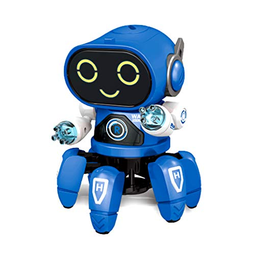 (OceanEC Mechanical Robot Toy, Kids Electric Walking Dance Robot Toy with LED Light and Music for Boys Girls Toddlers (Octopus Blue))