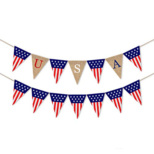 Puyujin Independence Day Products - Independence day hanging decoration America Independence Day Burlap Flag Banner Holiday Party Decoration Festival Layout Outdoor Interior Ceiling Decoration (A)