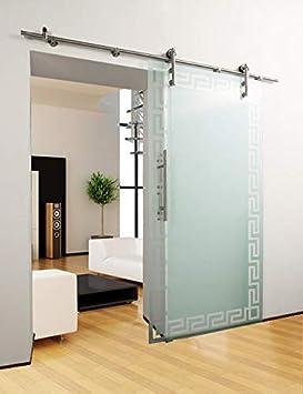 DURADOOR – Puerta corredera de cristal puerta corrediza Puerta de Cristal – Borde patrón Deisgn – 900 x 2050 mm – Juego completo: Amazon.es: Bricolaje y herramientas