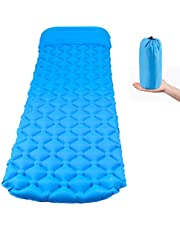 UERMEI Inflatable Sleeping Mat, Ultralight Camping Mattress with Pillow, Waterproof Portable Compact Air Pad, Folding Inflating Single Bed for Outdoor Backpacking Hiking Traveling (Blue)