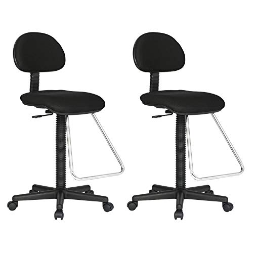 (2 Pack) Black Height Adjustable Seat Drafting Stool Office Chair w/Chrome Teardrop Footrest with Ebook