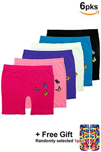 - BASICO Girls Dance, Bike Shorts 6, 12 Value Packs - for Sports, Play Or Under Skirts (Big Medium (8-11), 6pk Random Assorted- Butterfly)