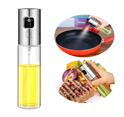 Olive Oil Sprayer Dispenser for Cooking, Food-Grade Glass Oil Spray Transparent Vinegar Bottle Oil Dispenser 100ml for BBQ/Making Salad/Baking/Roasting/Grilling/Frying Kitchen.